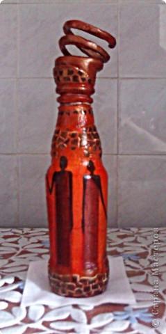 Мастер-класс,  Декупаж, : Экзотическая бутылка  Бутылки 23 февраля, . Фото 5