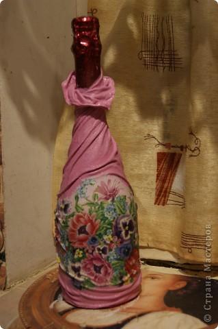 Мастер-класс,  Декупаж, : мой МК по изготовлению вот такой бутылочки Капрон 8 марта, День рождения, . Фото 10