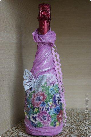 Мастер-класс,  Декупаж, : мой МК по изготовлению вот такой бутылочки Капрон 8 марта, День рождения, . Фото 1