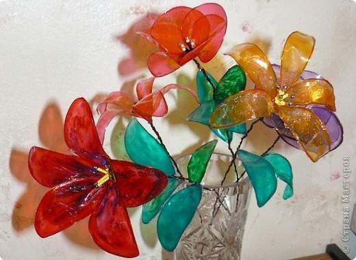 Поделка, изделие Витраж: Витражные цветы к 8 марта Бисер, Бусинки, Краска, Проволока 8 марта. Фото 1