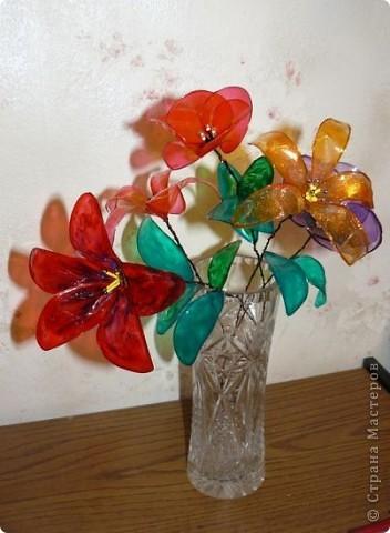 Поделка, изделие Витраж: Витражные цветы к 8 марта Бисер, Бусинки, Краска, Проволока 8 марта. Фото 2