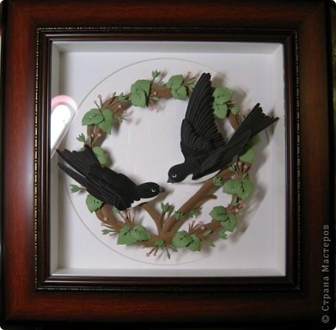 Картина, панно,  Бумагопластика, : Ласточки Бумага . Фото 1