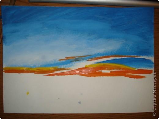 Мастер-класс, Урок рисования Рисование и живопись: Закат. Гуашь. Фото 6