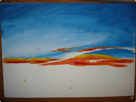 Мастер-класс, Урок рисования Рисование и живопись: Закат. Гуашь. Фото 7
