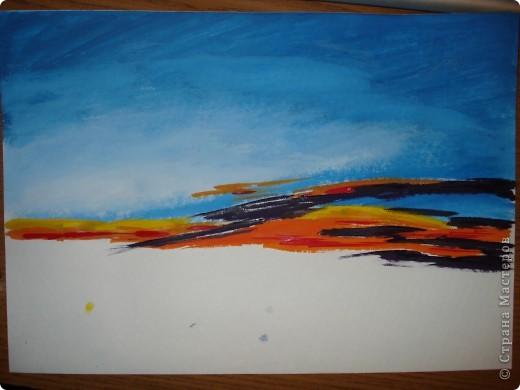 Мастер-класс, Урок рисования Рисование и живопись: Закат. Гуашь. Фото 8