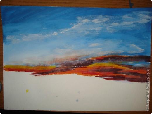 Мастер-класс, Урок рисования Рисование и живопись: Закат. Гуашь. Фото 10