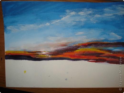 Мастер-класс, Урок рисования Рисование и живопись: Закат. Гуашь. Фото 12