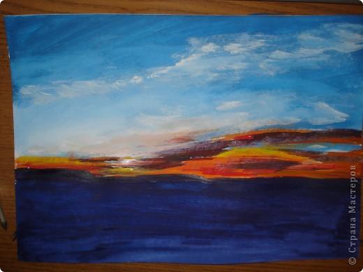 Мастер-класс, Урок рисования Рисование и живопись: Закат. Гуашь. Фото 13