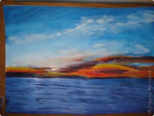 Мастер-класс, Урок рисования Рисование и живопись: Закат. Гуашь. Фото 14