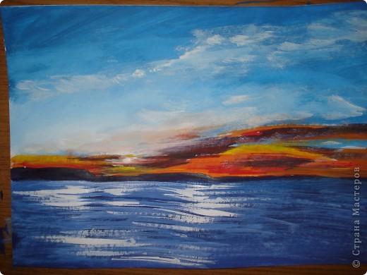 Мастер-класс, Урок рисования Рисование и живопись: Закат. Гуашь. Фото 15