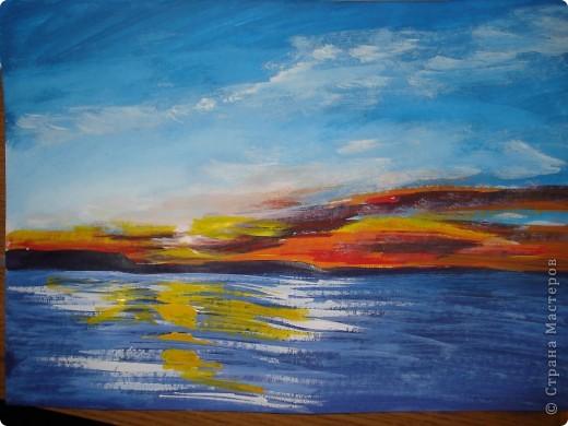 Мастер-класс, Урок рисования Рисование и живопись: Закат. Гуашь. Фото 16
