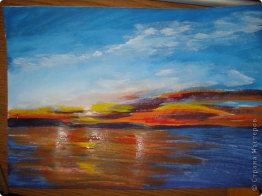 Мастер-класс, Урок рисования Рисование и живопись: Закат. Гуашь. Фото 17