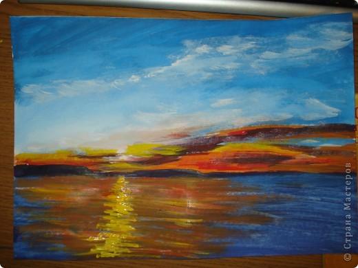 Мастер-класс, Урок рисования Рисование и живопись: Закат. Гуашь. Фото 18