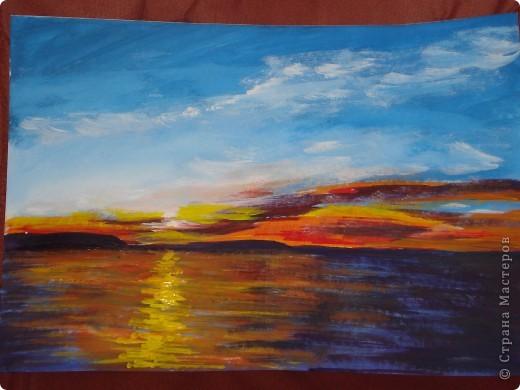 Мастер-класс, Урок рисования Рисование и живопись: Закат. Гуашь. Фото 19