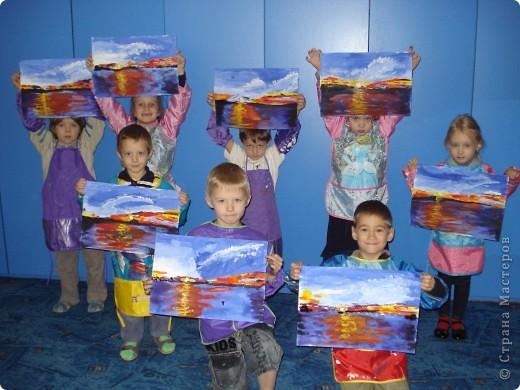 Мастер-класс, Урок рисования Рисование и живопись: Закат. Гуашь. Фото 20