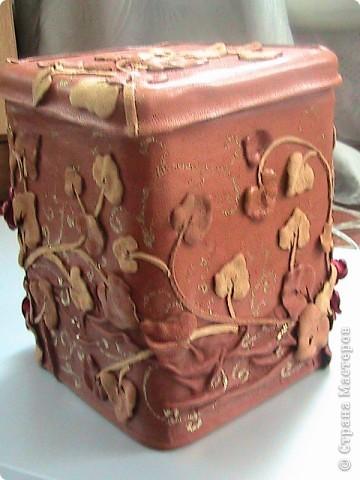 Декор предметов Аппликация: Шкатулки,копилки,насыпушки из кожи Кожа.
