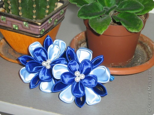 b цветы из атласных лент мастер класс - Сумки.