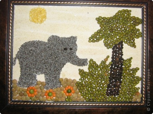 Картина, панно, рисунок Мозаика: Картинки из крупы Крупа.  Фото 8.