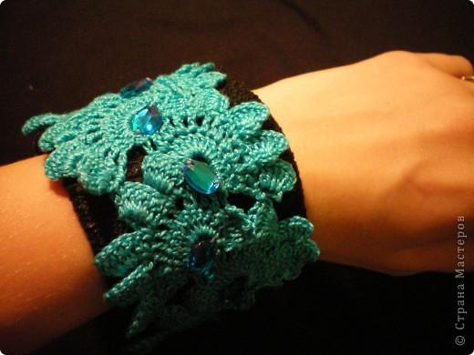 Украшение Вязание крючком: Вязаные браслеты Пряжа.  Фото 3.