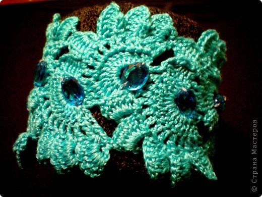 Украшение Вязание крючком: Вязаные браслеты Пряжа.  Фото 2.