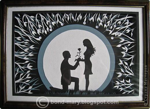 Картина, рисунок, панно Бумажный туннель, Вырезание силуэтное: Признание в лунную ночь Бумага. Фото 1