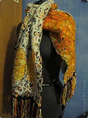 Cloakroom, Master Class Knitting, Sewing: Scarf in technology Krazy Wool Paper, Threads.  Photo 2