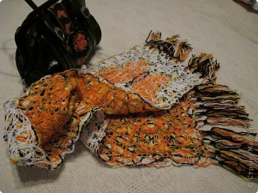 Cloakroom, Master Class Knitting, Sewing: Scarf in technology Krazy Wool Paper, Threads.  Photo 1