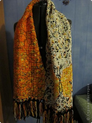 Cloakroom, Master Class Knitting, Sewing: Scarf in technology Krazy Wool Paper, Threads.  Photo 20