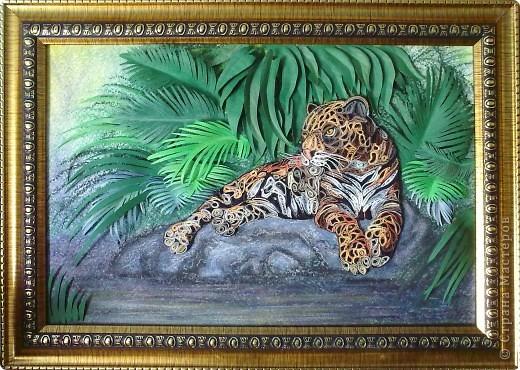 Картина, панно Квиллинг: Леопард Бумага, Клей, Пастель, Бумажные полосы. Фото 1