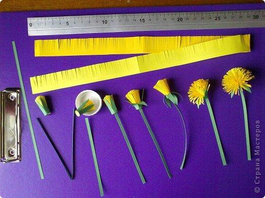 Мастер-класс Бумагопластика, Квиллинг: Мои одуванчики МК Бумага, Клей. Фото 2