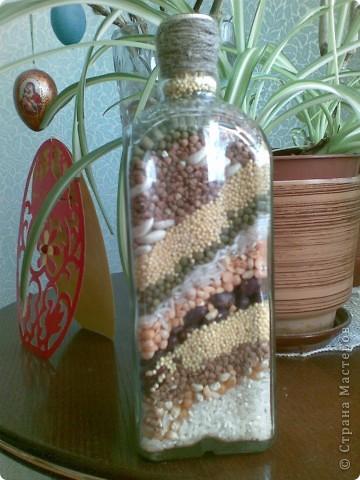 Декор предметов Коллаж: Бутылки с крупами и солью Бутылки стеклянные, Гуашь, Крупа, Пряжа, Соль. Фото 1