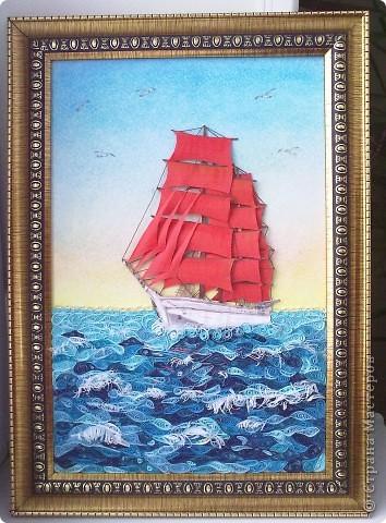 Картина, панно Бумагопластика, Квиллинг: Алые паруса Бумага, Клей, Пастель, Бумажные полосы. Фото 1