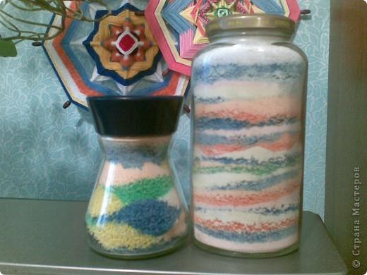 Декор предметов Коллаж: Бутылки с крупами и солью Бутылки стеклянные, Гуашь, Крупа, Пряжа, Соль. Фото 3