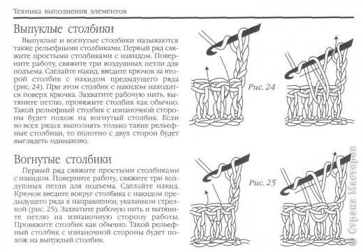 Как вязать выпуклые и вогнутые столбики с