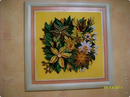Картина, панно Квиллинг: цветики-семицветики... Бумажные полосы. Фото 2