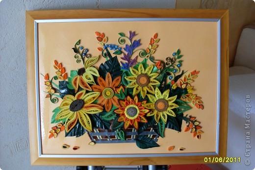 Картина, панно Квиллинг: цветики-семицветики... Бумажные полосы. Фото 5