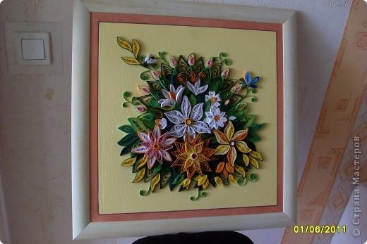 Картина, панно Квиллинг: цветики-семицветики... Бумажные полосы. Фото 4