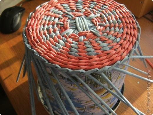 Мастер-класс, Поделка, изделие Плетение: Плошка-лукошко (крашеные трубочки) Бумага газетная. Фото 7
