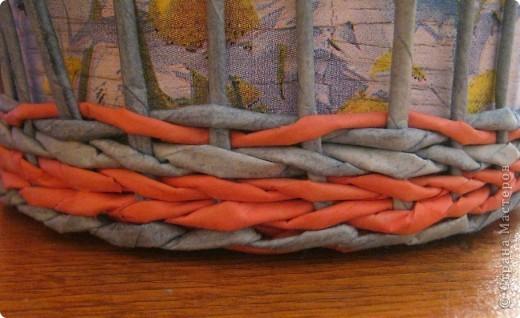 Мастер-класс, Поделка, изделие Плетение: Плошка-лукошко (крашеные трубочки) Бумага газетная. Фото 8