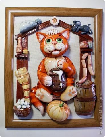 Картина, панно, Мастер-класс Лепка: Котик в амбаре (МК) Тесто соленое. Фото 1