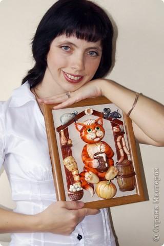 Картина, панно, Мастер-класс Лепка: Котик в амбаре (МК) Тесто соленое. Фото 2