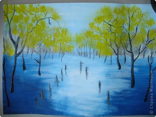 Мастер-класс, Урок рисования Рисование и живопись: Осенний парк. Гуашь Праздник осени. Фото 13