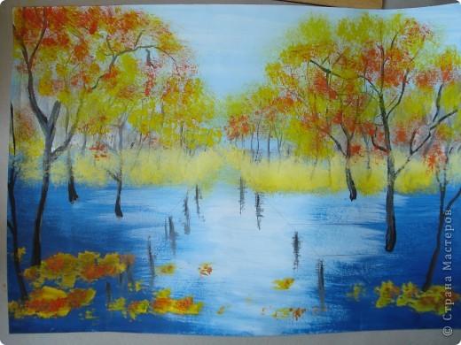 Мастер-класс, Урок рисования Рисование и живопись: Осенний парк. Гуашь Праздник осени. Фото 15