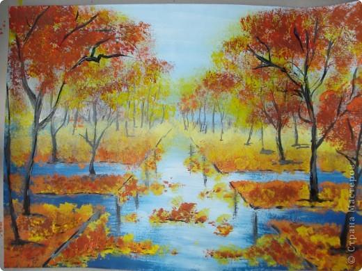 Мастер-класс, Урок рисования Рисование и живопись: Осенний парк. Гуашь Праздник осени. Фото 20