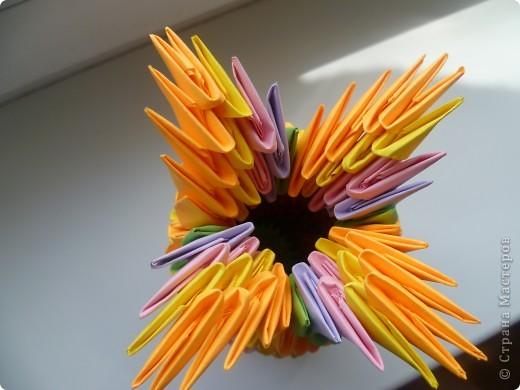 Мастер-класс Оригами модульное: ваза на день рождения Бумага День рождения. Фото 3
