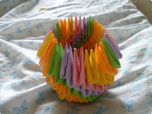 Мастер-класс Оригами модульное: ваза на день рождения Бумага День рождения. Фото 10
