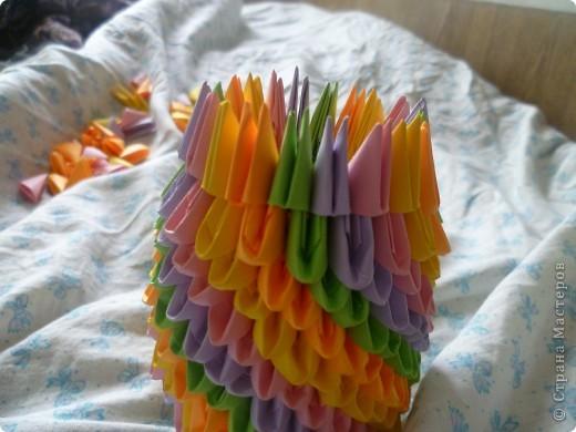 Мастер-класс Оригами модульное: ваза на день рождения Бумага День рождения. Фото 14