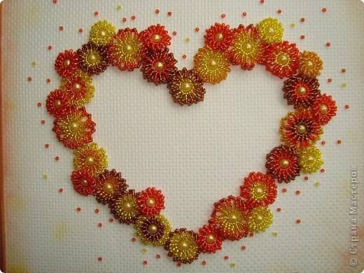 Сердце из бисерных цветов Dsc02665