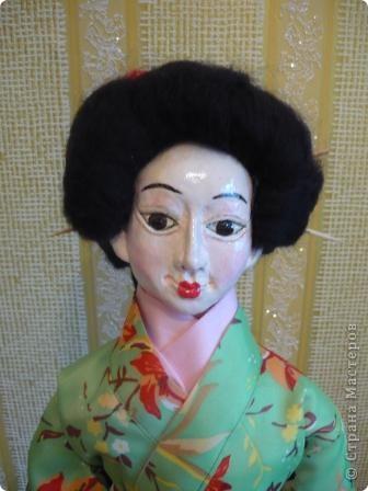 Куклы, Мастер-класс Папье-маше, Шитьё: Кукла японочка + МК Бумага, Клей, Краска, Пряжа, Ткань Отдых. Фото 2