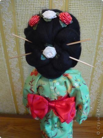 Куклы, Мастер-класс Папье-маше, Шитьё: Кукла японочка + МК Бумага, Клей, Краска, Пряжа, Ткань Отдых. Фото 5